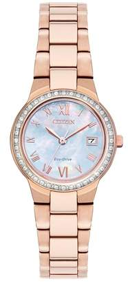 Citizen Ladies Rose Gold 'Eco-Drive' Analog Bracelet Watch Ew1993-50D