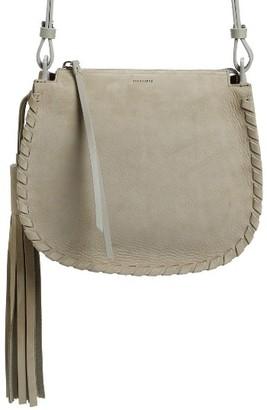 Allsaints Mori Suede Crossbody Bag - Grey $278 thestylecure.com