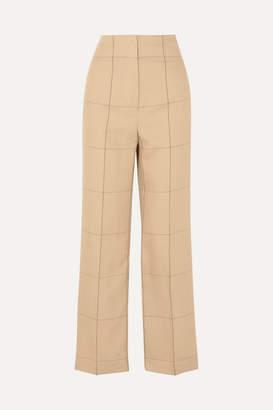 By Malene Birger Illari Checked Canvas Wide-leg Pants - Beige