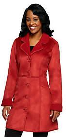 Denim & Co. Faux Suede Jacket w/ Sherpa Lining& Pockets