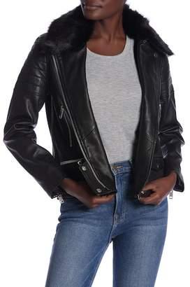 Walter Baker Ruby Faux Fur Collar Leather Jacket