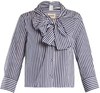 Khaite - Natalie Striped Bow Embellished Cotton Blouse - Womens - Navy Stripe