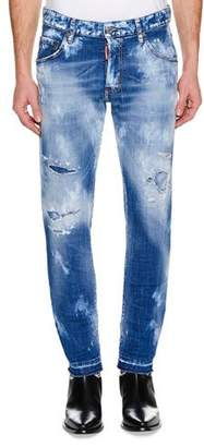 DSQUARED2 Men's Skater Distressed Super Bleached Straight-Leg Jeans with Holes