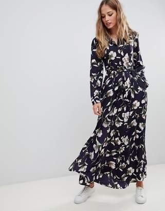 Liquorish floral print maxi shirt dress