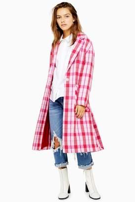 Topshop Womens Petite Side Split Check Coat - Pink
