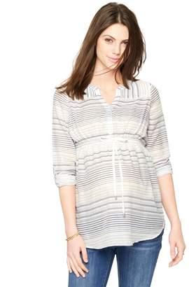 Luxe Essentials Denim Button Detail Maternity Tunic