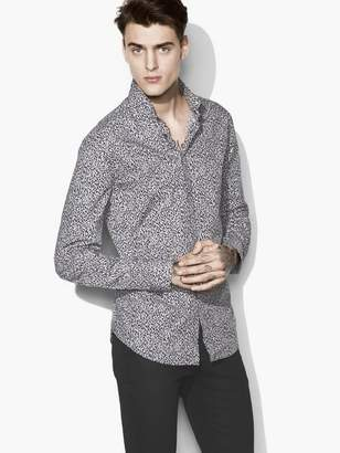John Varvatos Wire-Collar Printed Shirt