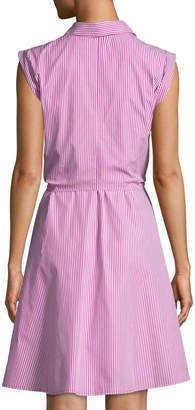 Neiman Marcus Striped Sash-Waist A-line Shirtdress