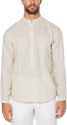 Cubavera 100% Linen Long Sleeve 2 Pocket Popover Shirt