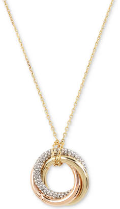 Kenneth Cole New York Tri-Tone Pave Triple-Ring Pendant Necklace
