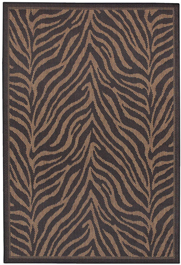 "Couristan Couristan Area Rug, Recife Indoor/Outdoor Zebra Black/Cocoa 2' 3"" x 11' 9"" Runner"