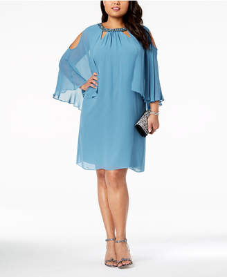 Sl Fashions Plus Size Embellished Cold-Shoulder Cape Dress