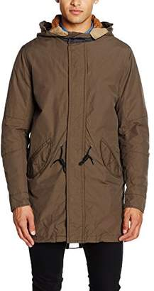 Green & Black Jack & Jones Vintage Men's JJVBLAKE FISHTALE Parka AUW Coat, Green (Black Olive), Large