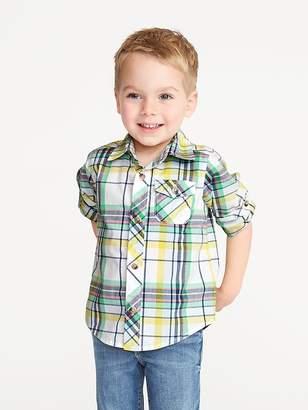 Old Navy Built-In Flex Roll-Sleeve Shirt for Toddler Boys