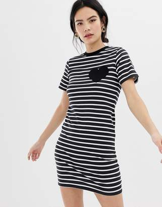 Asos DESIGN mini bodycon stripe t-shirt dress with heart pocket