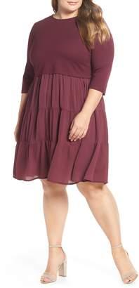 LOST INK Mixed Media Ruffle Detail Swing Dress