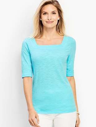 Talbots Roll-Cuff Square-Neck Tee