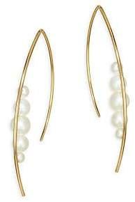 Mizuki Women's 14K Gold & Pearl Large Graduated Pearl Marquis Hoop Earrings