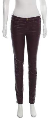 Current/Elliott Coated Mid-Rise Skinny Jeans