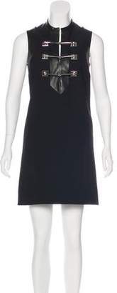 Gucci Leather-Trimmed Wool Dress