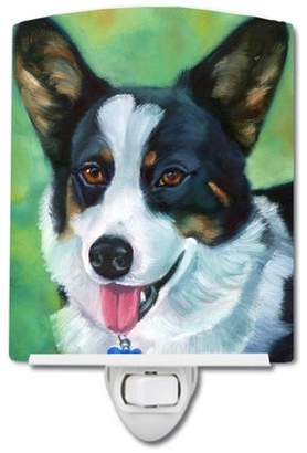 Corgi Caroline's Treasures with blue tag Ceramic Night Light