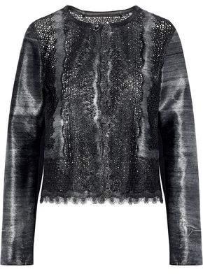 Elie Tahari Karlene Laser-Cut Metallic Calf Hair Jacket
