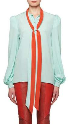 Givenchy Tie-Neck Long-Sleeve Silk Crepe de Chine Blouse