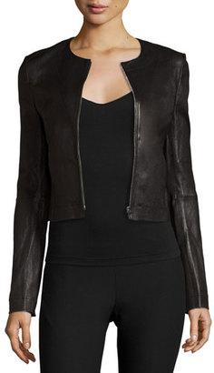Elizabeth and James Helen Fitted Cropped Leather Jacket, Black $995 thestylecure.com