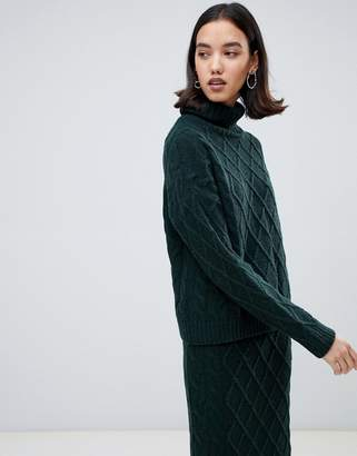 Selected chunky knit roll neck sweater
