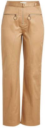 Self-Portrait Straight-Leg Cotton Pants