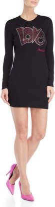 Love Moschino Embellished Long Sleeve Sweater Dress