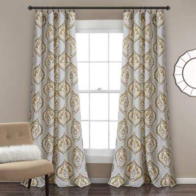 Lush Décor Harley Rod Pocket 84-Inch Window Curtain Panel Pair in Yellow