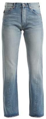 Balenciaga Twisted Straight Leg Jeans - Womens - Light Blue