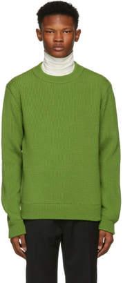 Namacheko Green Wool Ribbed Crewneck Sweater