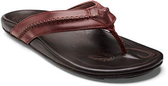 OluKai Men's Mea Ola Leather Thong Sandals, Brown/Red
