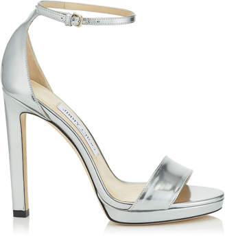 Jimmy Choo MISTY 120 Silver Liquid Mirror Leather Platform Sandals