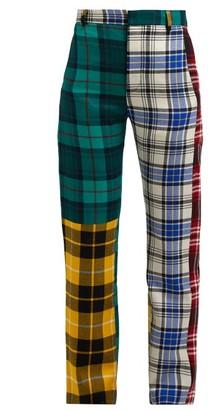 Charles Jeffrey Loverboy Panelled Tartan Wool Trousers - Womens - Multi