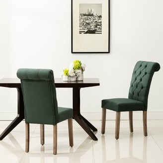 AC Pacific Natalie Roll Top Tufted Green Linen Fabric Modern Dining Chair (Set of 2)