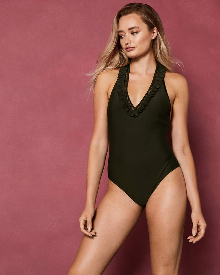 BLANNA Deep V ruffle swimsuit