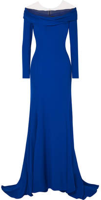 Reem Acra - Draped Off-the-shoulder Silk-crepe Gown - Cobalt blue