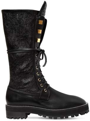 Stuart Weitzman 30mm Elspeth Leather Combat Boots