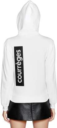 Courreges Hooded Zip-Up Cotton Sweatshirt