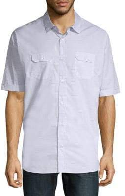 Eleventy Printed Cotton Button-Down Shirt