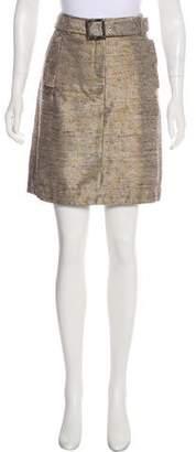 Tory Burch Metallic Belted Skirt