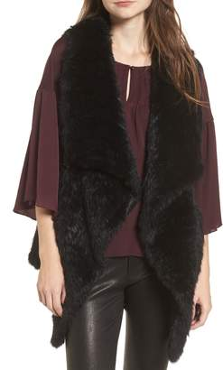 Love Token Long Drape Genuine Rabbit Fur Vest