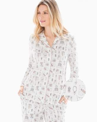Embraceable Long Sleeve Notch Collar Pajama Top Presents Ivory