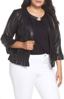 Sejour Ruffled Faux Leather Jacket