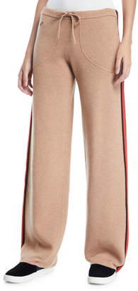 Bella Freud Race Track Side-Stripe Wool\/Cashmere Track Pants