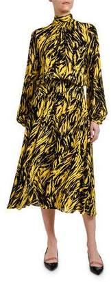 No.21 No. 21 Animal-Print High-Neck Blouson-Sleeve Midi Dress