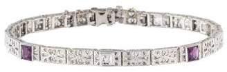 14K Amethyst & Diamond Art Deco Bracelet
